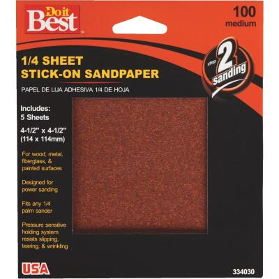 Do it Best Stick-On 100 Grit 1/4 Sheet Sandpaper (5-Pack)
