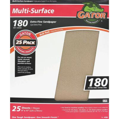 Gator Multi-Surface 9 In. x 11 In. 180 Grit Extra Fine Sandpaper (25-Pack)