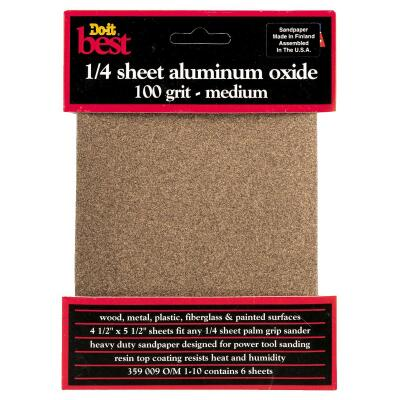 Do it Best 100 Grit 1/4 Sheet Sandpaper (6-Pack)