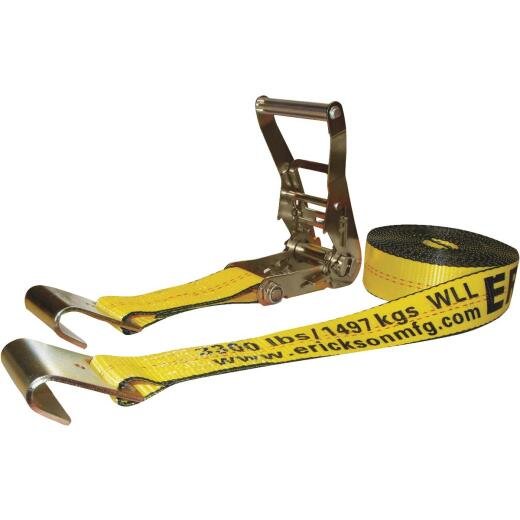 Erickson 2 In. x 27 Ft. 10,000 Lb. Ratchet Strap with Flat Bed Hook