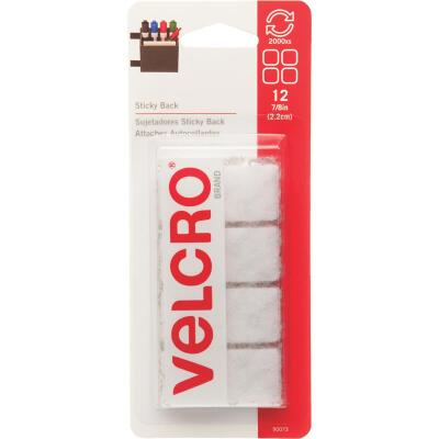 VELCRO Brand 7/8 In. White Hook & Loop Square (12 Ct.)